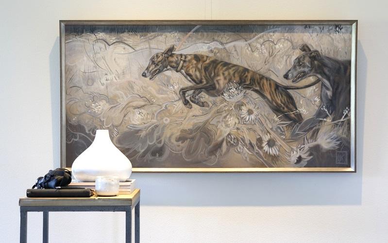 coursing greyhounds - oilpainting dogportrait - jennifer koning