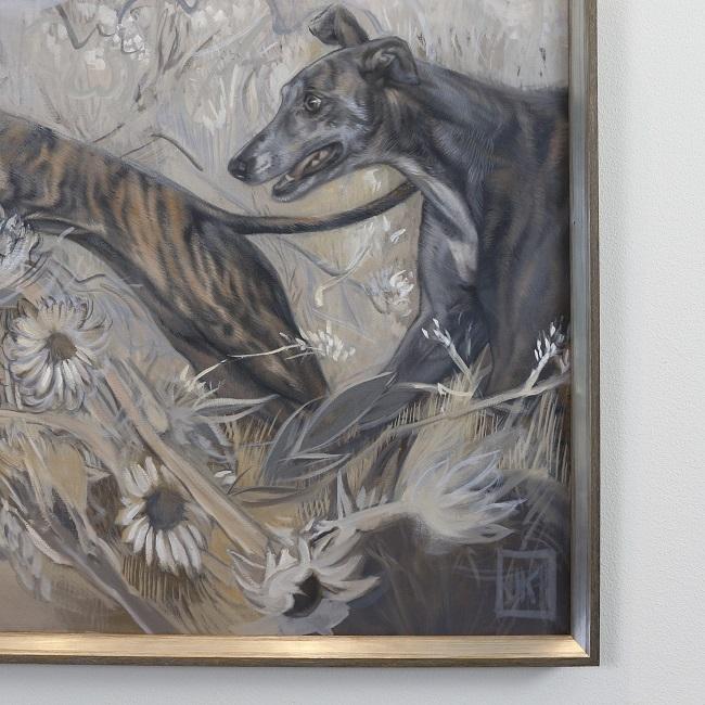 coursing twee prachtige greyhounds in actie - detail -jennifer koning