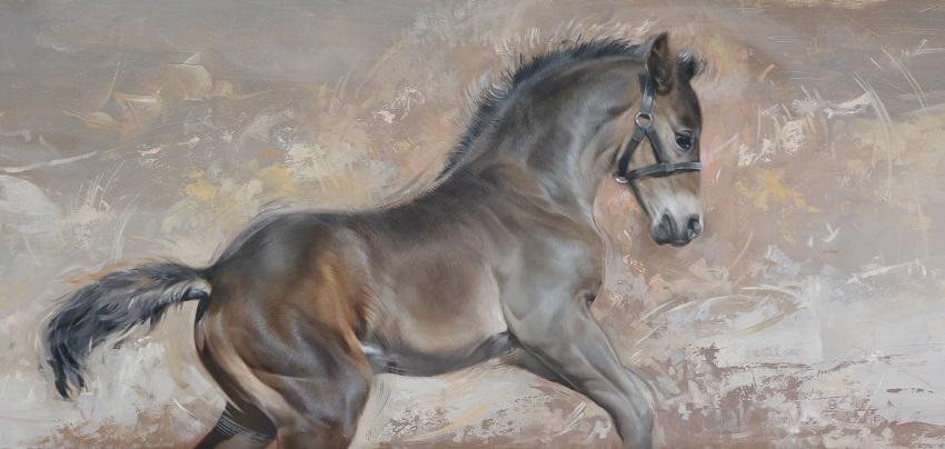 paardenschilderij in olieverf - play - jennifer koning