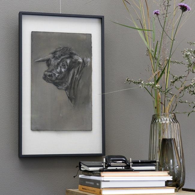 koeienkunst longhorn portret ingelijst - houtskool mixed media