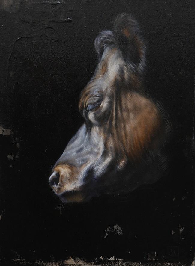 koeienschilderij jersey koe olieverf - twilight jersey II - jennifer koning