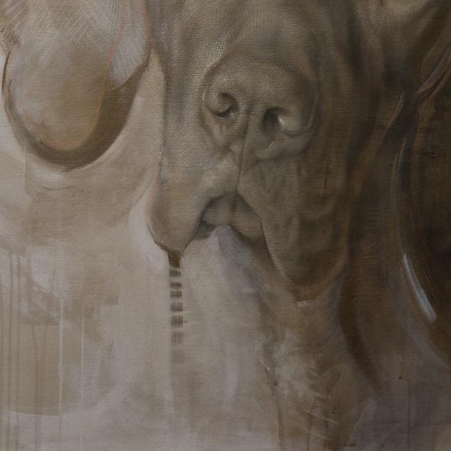 hondenportret schilderij mixed media - detail 2