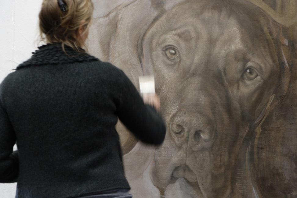 hondenportret realistisch versus abstract schilderij - portret hond - jennifer koning