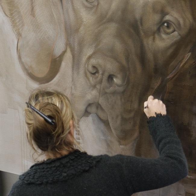 hondenkunst - schilderij in uitvoering