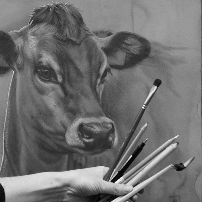 kunst over koeien - jersey koe fiep - schilderij - jennifer koning