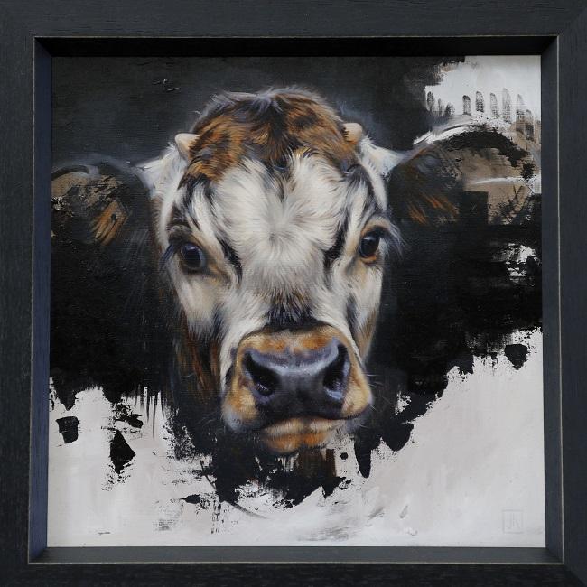 kalf schilderij in olieverf - engelse longhorn - tarzan - koning