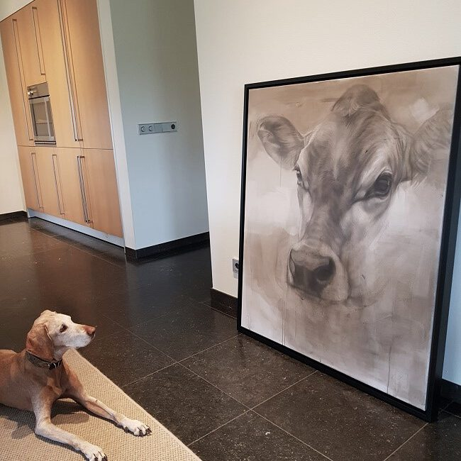 cow painting - just framed - jersey cow mixed media- ella