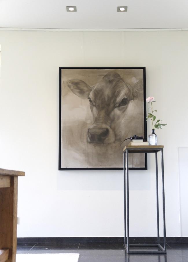 koeienschilderij portret koe - jersey ella -bovineart cow painting - framed