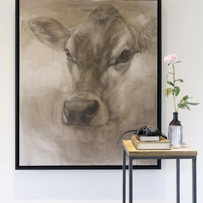 jersey koe schilderij - cow painting - ella mixed media - jennifer koning
