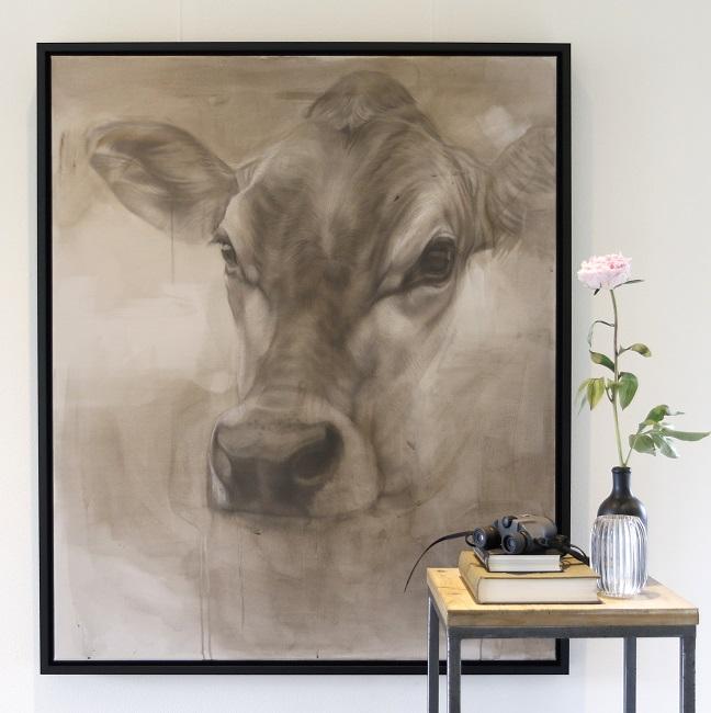 jersey ella - schilderij koe - cow painting - jennifer koning