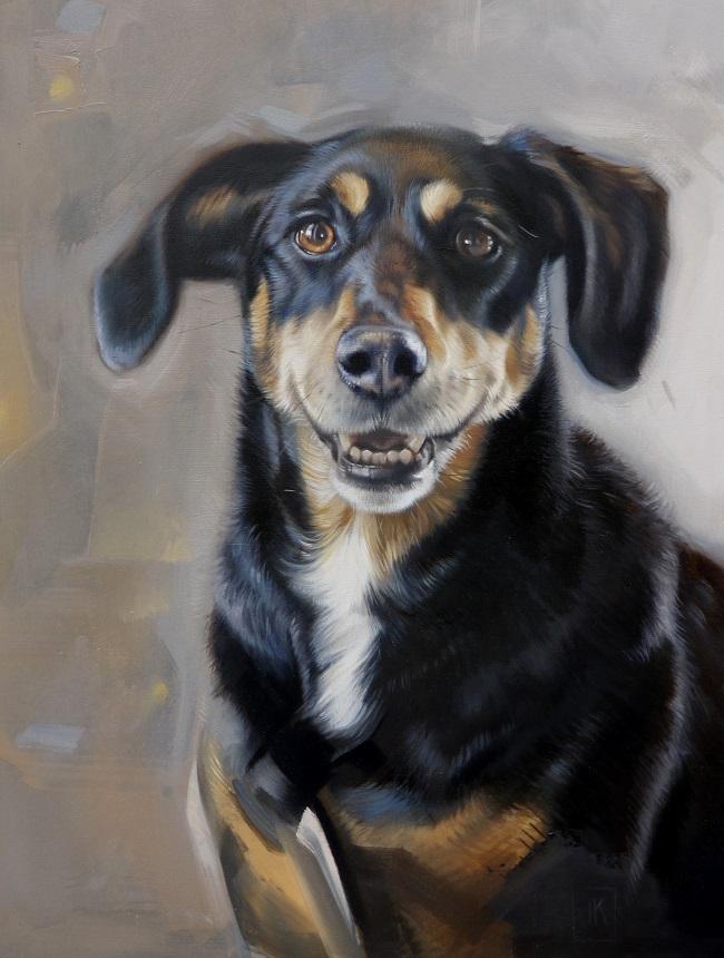 hondenschilderijen - jack russell hond reu in olieverf - jennifer koning