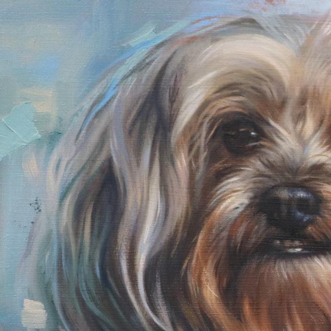 detail van een boomer honden portret in olieverf