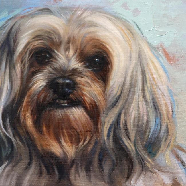detail olieverfschilderij boomer hondje door jennifer koning