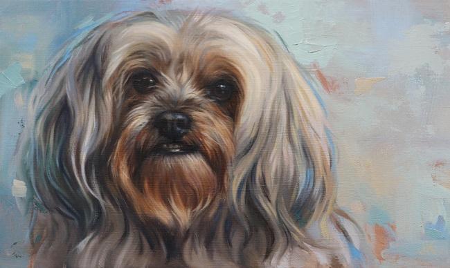 olieverf schilderij van een boomer hondje door jennifer koning