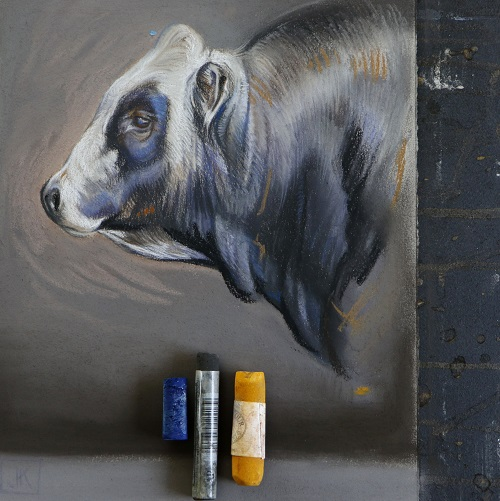 piemontese stier in pastel door jennifer koning detail