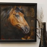 portret paard in olieverf door jennifer koning waresco ingelijst